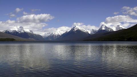 Static Shot Lake McDonald Water Shimmering Fast Glacier National PArk Peaks Footage