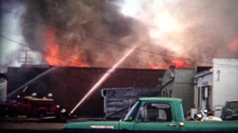 (8mm Film) 1968 Building Fire Department Footage