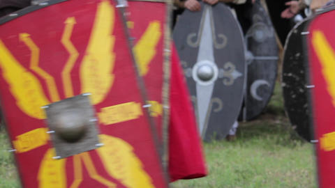 Roman warriors and Barbarians 01b Footage