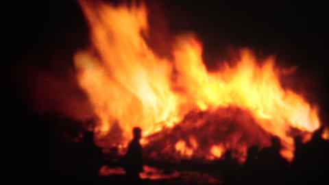 (8mm Film) 1951 Raging Bonfire at Night Footage