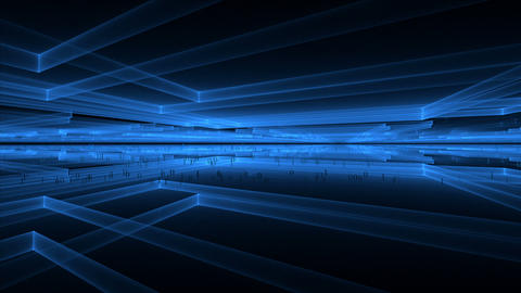 Internet Concept, Blue Cubic Geometrical Perspective Stretching Off To Infinity stock footage