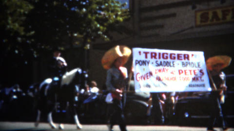 (8mm Film) 1949 Parade Past Safeway Grocery Store Footage