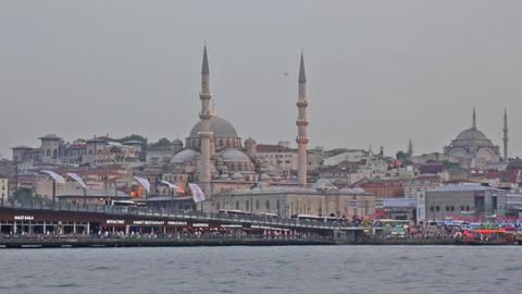 Galata Bridge And Mosque Eminonu In The Evening stock footage