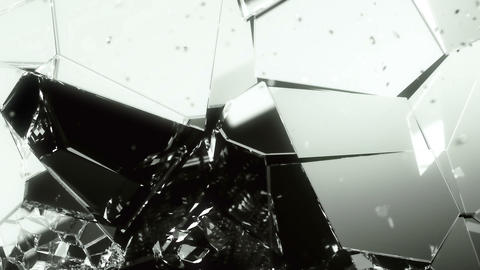 Cracked and broken Glass slow motion. Alpha matte Animation