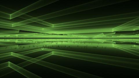 Internet Concept, Matrix, Green Geometrical Horizon Animation