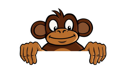 Monkey holding empty frame animation CG動画素材