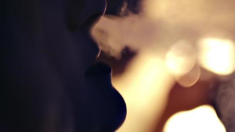 Woman Smoking Hookah stock footage