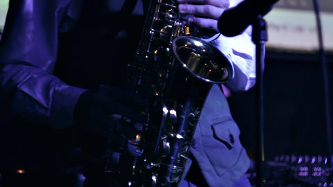 1080p Saxophonist Performs Melody, Standing on Stage Footage