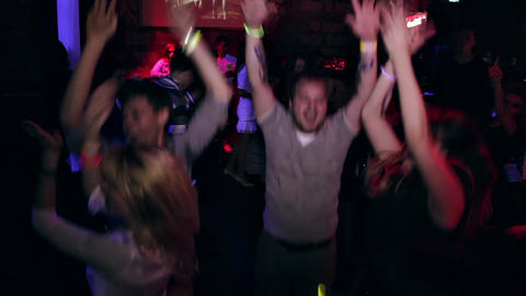 1080p People Dancing at Party in Nightclub Footage
