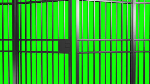 open and close jail bars door with alpha matte and green screen Animación