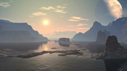 Sunset and moonrise over a mountain lake Animation