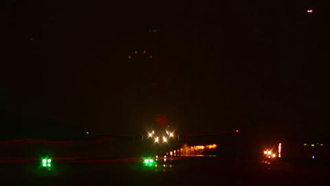 Night departing. Take-off Live Action