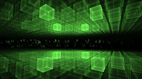 Data Flow, Green Geometrical Horizon, Communication Concept Animation
