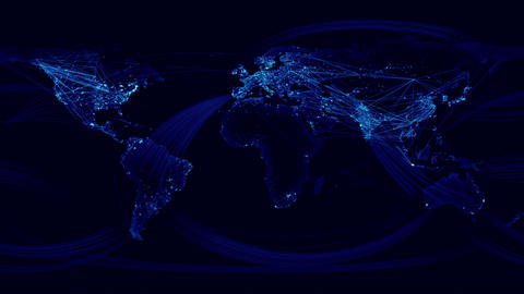 Network Lines Lighting Up World Map. Blue Version Stock Video Footage