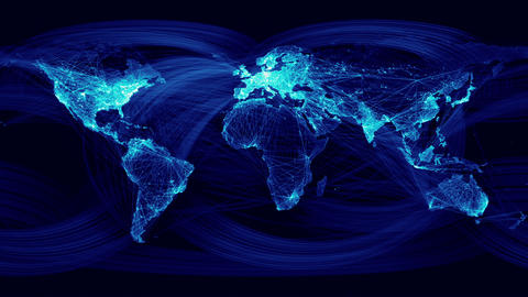 Network Lines Lighting Up World Map. Blue Version Animation