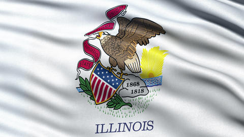 4K Illinois state flag seamless loop Ultra-HD Animation