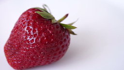 Organic Strawberry Mouving, Isolated, White Background Footage