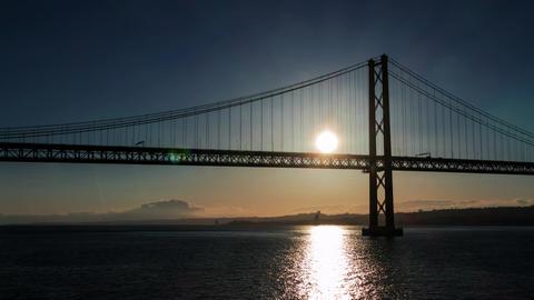 Sunset on the 25 de Abril Bridge in Lisbon Footage