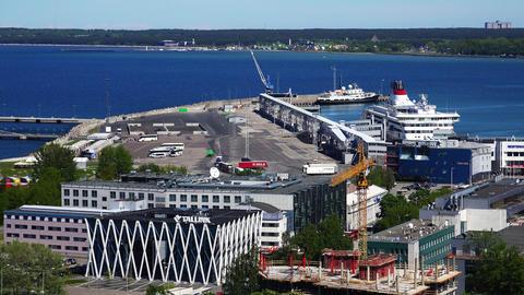 Port And Dock In Old Tallinn. Estonia. 4K stock footage