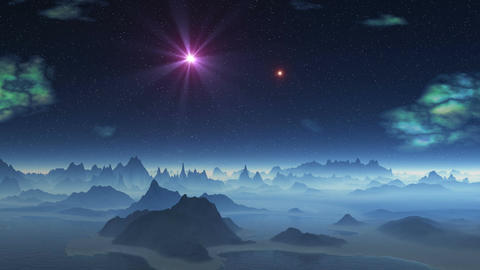Two UFOs flying over alien planet Animation