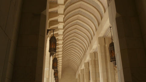 long high colonnade with pointed arch tilt down Footage