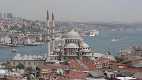 View Of The Gulf The Gold Horn And Suleymaniye Mosque stock footage