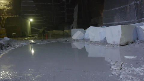 Aerial marble mine interior -underground Footage