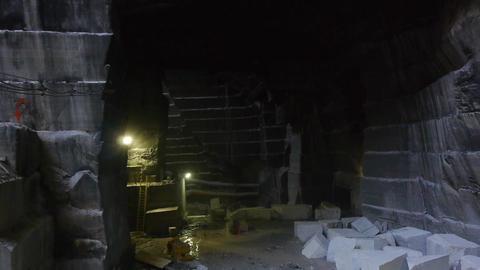 Aerial marble mine interior Footage
