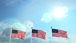 USA US 3 American Flags Waving Against Blue Sky CG Flare Animation