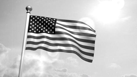 USA US American Flag Waving Against Blue Sky old cine film celluloid sepia Animation