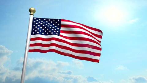 USA US American Flag Medium Shot Waving Against Blue Sky CG, Stock Animation