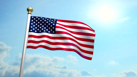 USA US American Flag Medium Shot Waving Against Blue Sky CG Animation