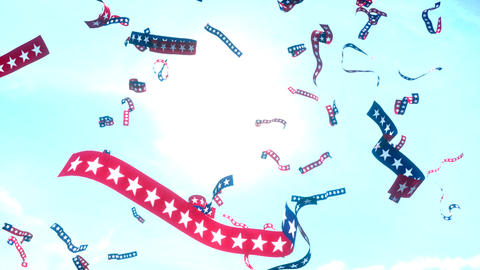 Ticker tape stars and stripes US USA America presidential election patriotic Animation
