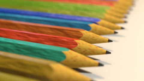 Pencils in a row close up tracking shot Animation