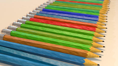Pencils In A Row Close Up Tracking Shot stock footage