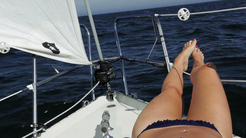 Girl on sailboat Footage
