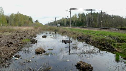 The Spring Pool Near Railway Russia 2015 stock footage