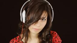 Music woman headphones clapperboard come eye Footage