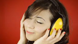 Music Woman Red Headphones Sensual stock footage