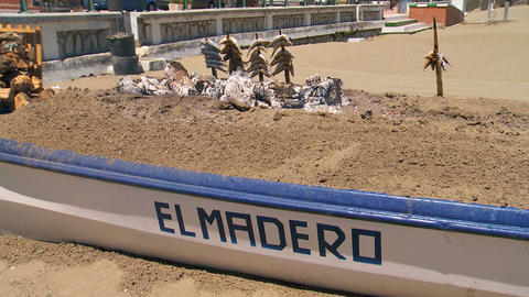Espeto De Sardinas On Bar-b-q At Chiringuito. Bar-B -Q Sardines stock footage