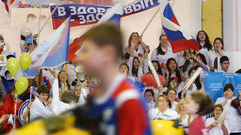 Russian Fans Celebrated stock footage