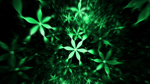 Whirlpool Of Green Flowers, Floral Background Animation