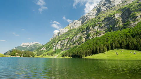 Panorama Pan Of Beautiful Mountains With Lake stock footage