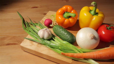 Multiple vegetables on a board Footage