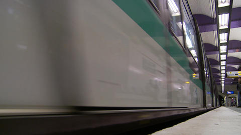 Trains pass in Paris- slow motion Footage