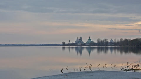 Sunset over Spaso-Yakovlevsky Monastery on Nero's lake in Rostov, Russia Footage