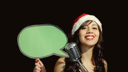 Music woman singer christmas green balloon Footage