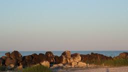 Rocks , Sea and Moon Footage