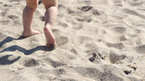 Baby Walking on Beach Footage