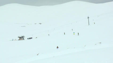 People In A Ski Resort On A Mountain stock footage